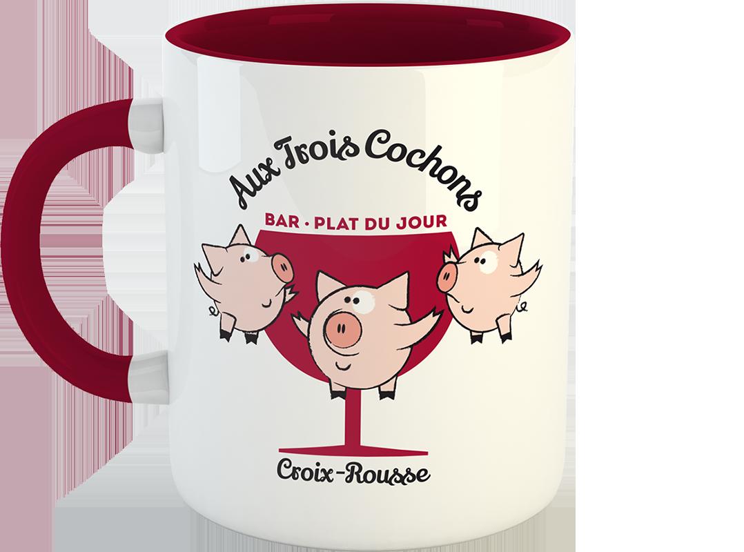 """Mug """"Aux 3 Cochons"""" offert en cadeau client pour Noël 2018"""